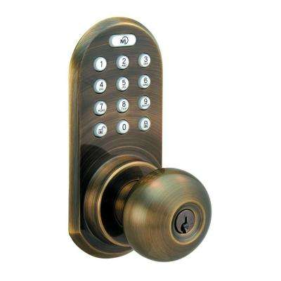 Antique Brass Touch Pad and Remote Electronic Entry Knob