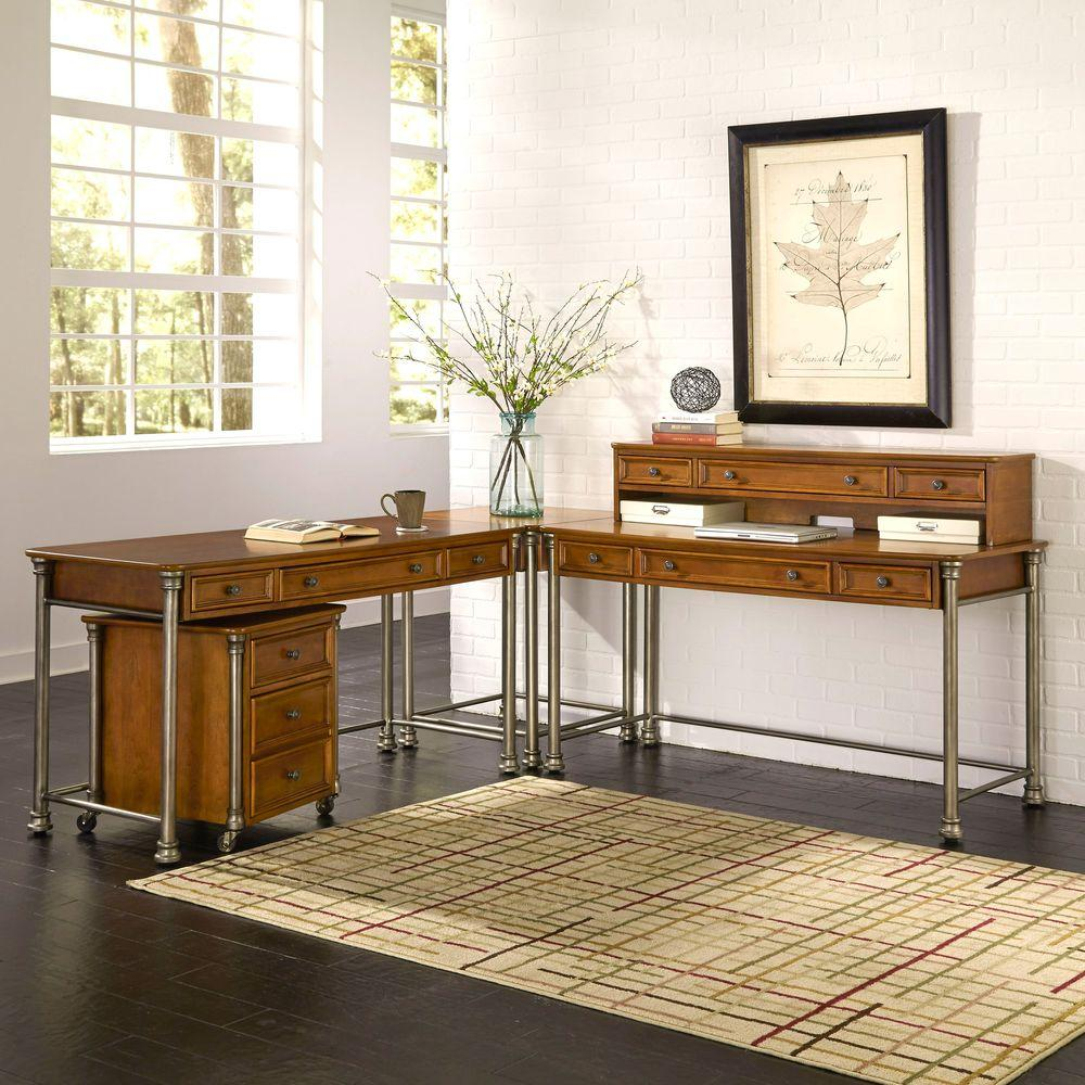 home styles the orleans 3 piece vintage caramel office suite