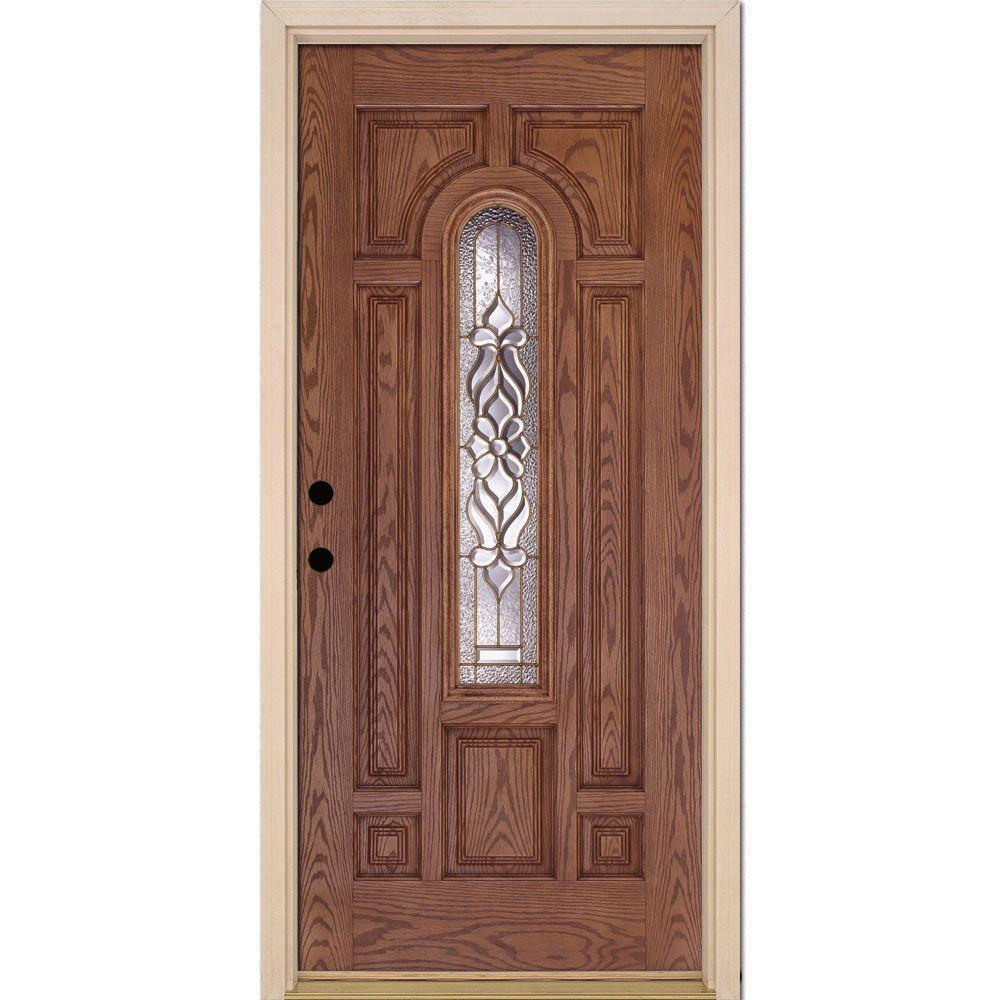 Attirant Feather River Doors 37.5 In. X 81.625 In. Lakewood Brass Center Arch Lite  Stained