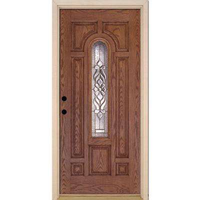 37.5 in. x 81.625 in. Lakewood Brass Center Arch Lite Stained Medium Oak Right-Hand Fiberglass Prehung Front Door