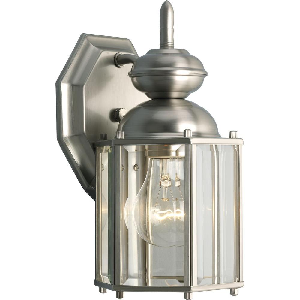 ... Progress Lighting Brassguard Collection 1 Light Outdoor Brushed Nickel  Wall Lantern ...