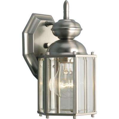 BrassGUARD Collection 1-Light 10.25 in. Outdoor Brushed Nickel Wall Lantern