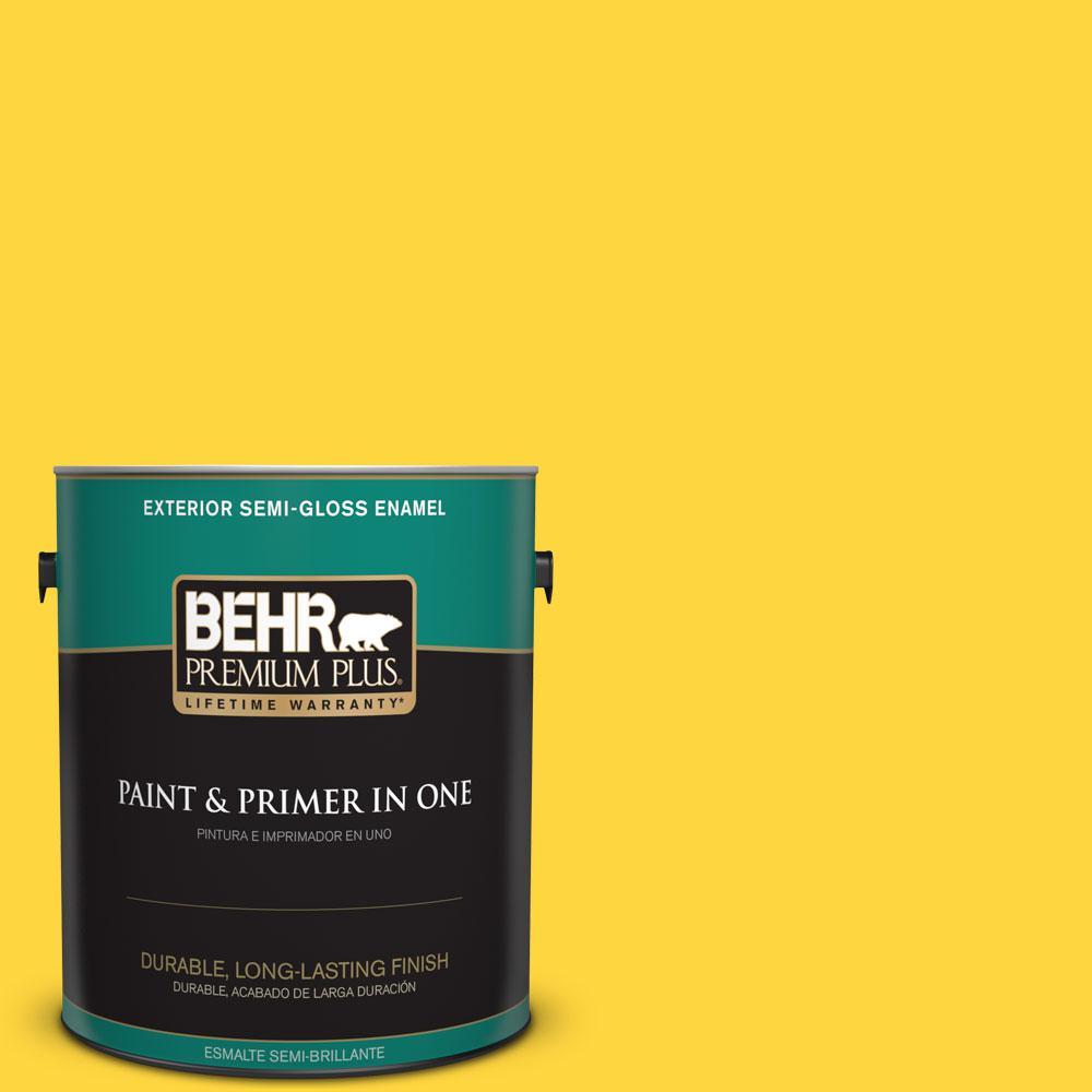 1-gal. #380B-6 Lemon Tart Semi-Gloss Enamel Exterior Paint