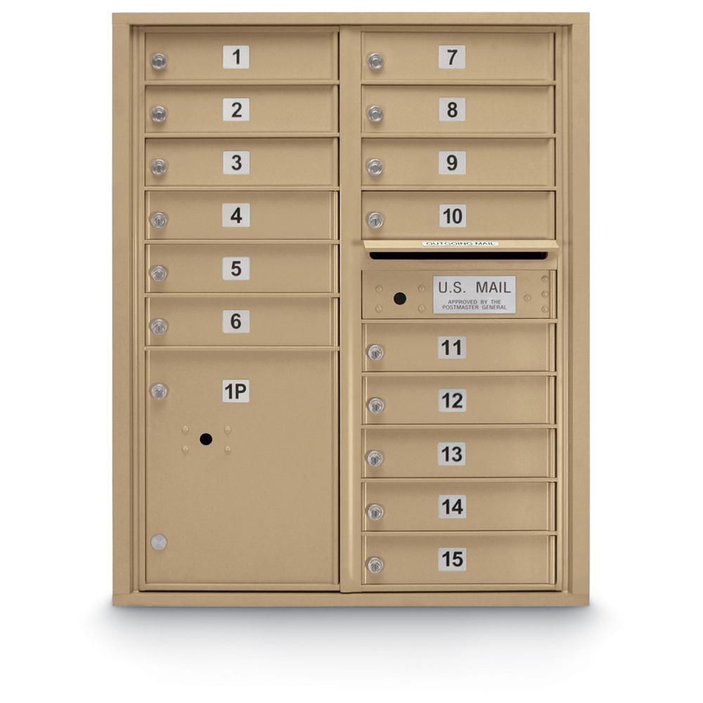 15-Door Standard 4-Compartment Front Laoding Mailbox in Sandstone