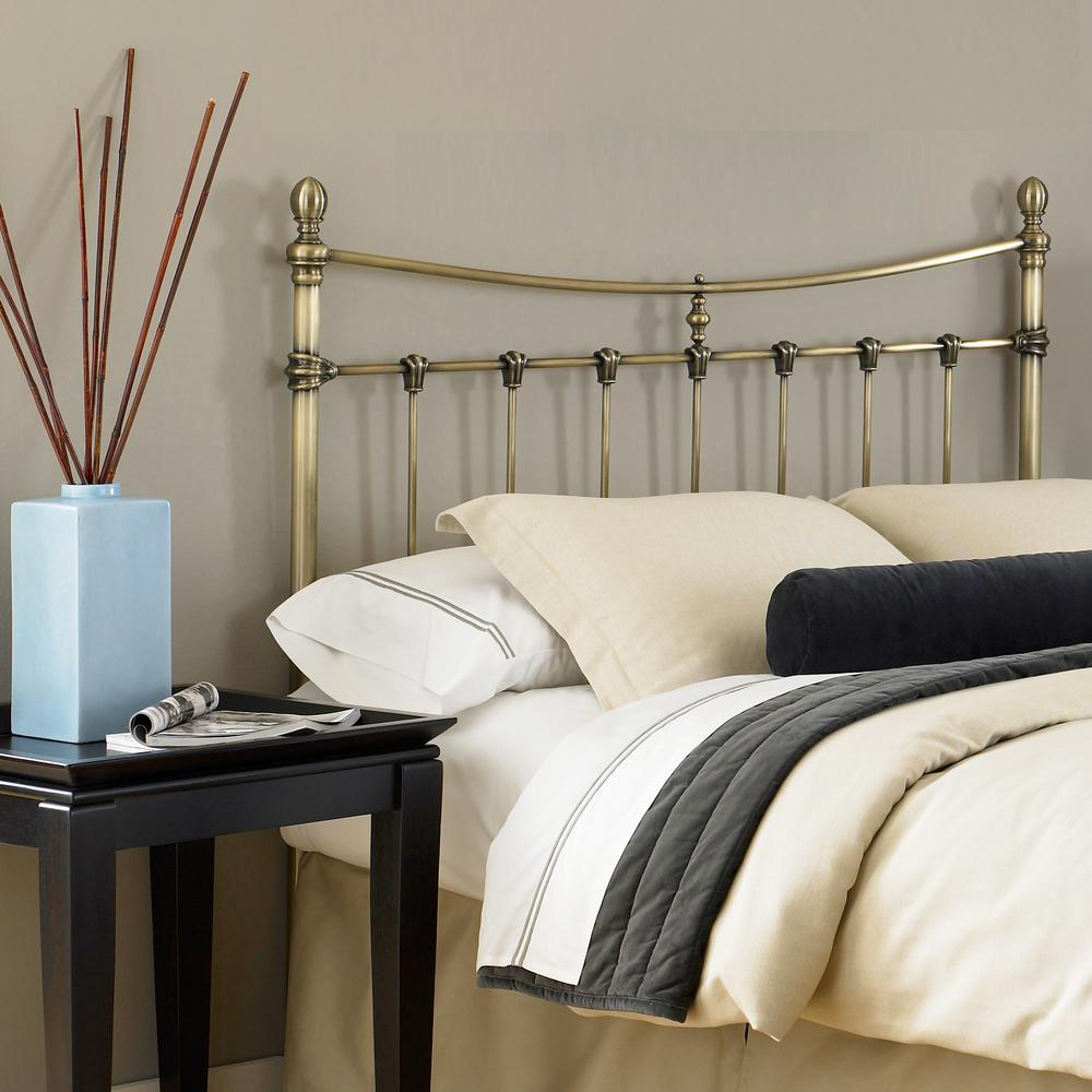 Fashion bed group leighton california king size metal headboard with rounded posts and scalloped castings