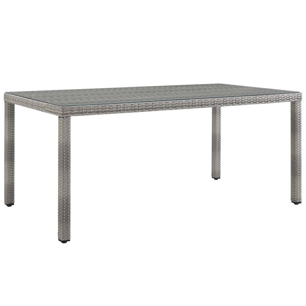 Groovy Modway Aura 68 In Wicker Outdoor Dining Table In Gray Theyellowbook Wood Chair Design Ideas Theyellowbookinfo