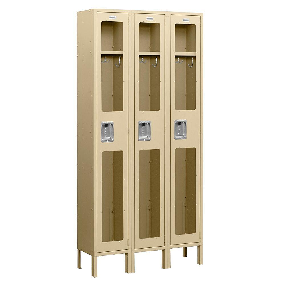 Salsbury Industries S-61000 Series 36 in. W x 78 in. H x 12 in. D Single Tier See-Through Metal Locker Assembled in Tan