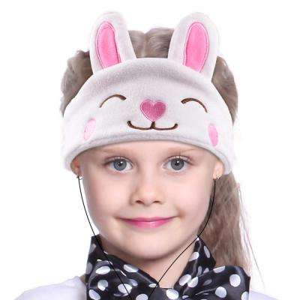 Kids Headphones Volume Limiter Machine Washable Fleece Headphones for Children Travel/Home w/ Adjustable Band (Rabbit)