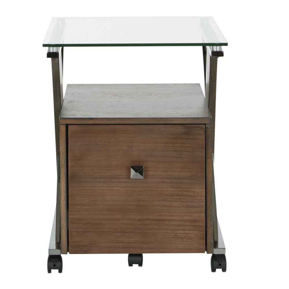 Eureka File Cabinet with Caramel Wood and Black Nickel Metal Tube
