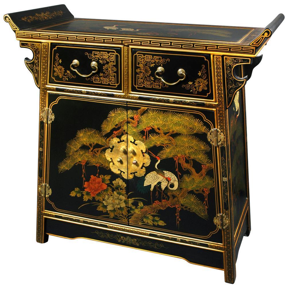 Oriental Furniture Black Lacquer Landscape Altar Cabinet