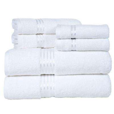 100% Egyptian Cotton Hotel Towel Set in White (6-Piece)