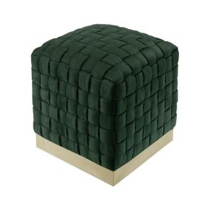 Diamond Hunter Green/Gold Cube Woven Velvet Ottoman