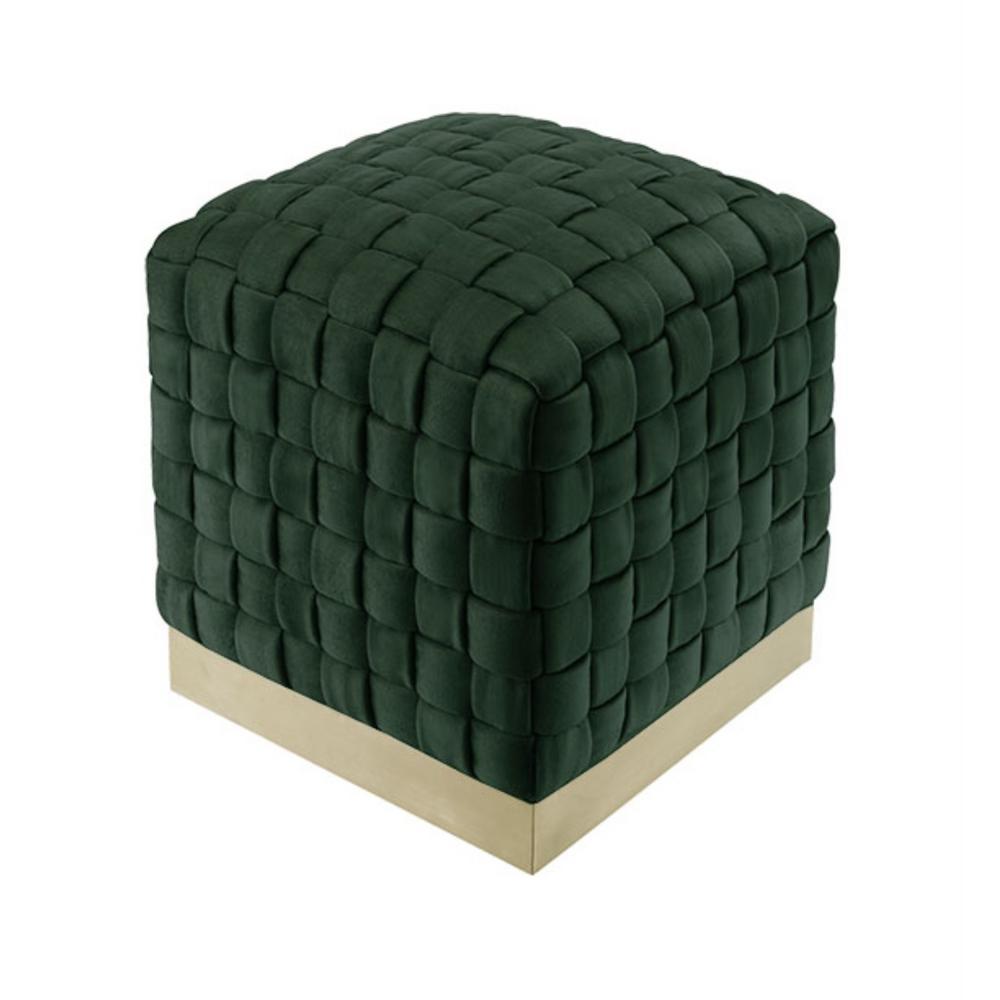 Diamond Hunter Green/Gold Cube Woven Velvet Ottoman