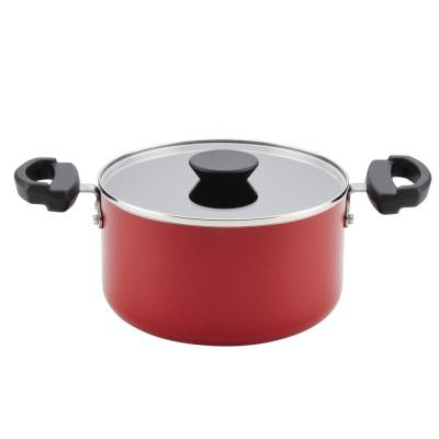Neat Nest Space Saving 3.5 qt. Aluminum Nonstick Sauce Pot in Red with Glass Lid