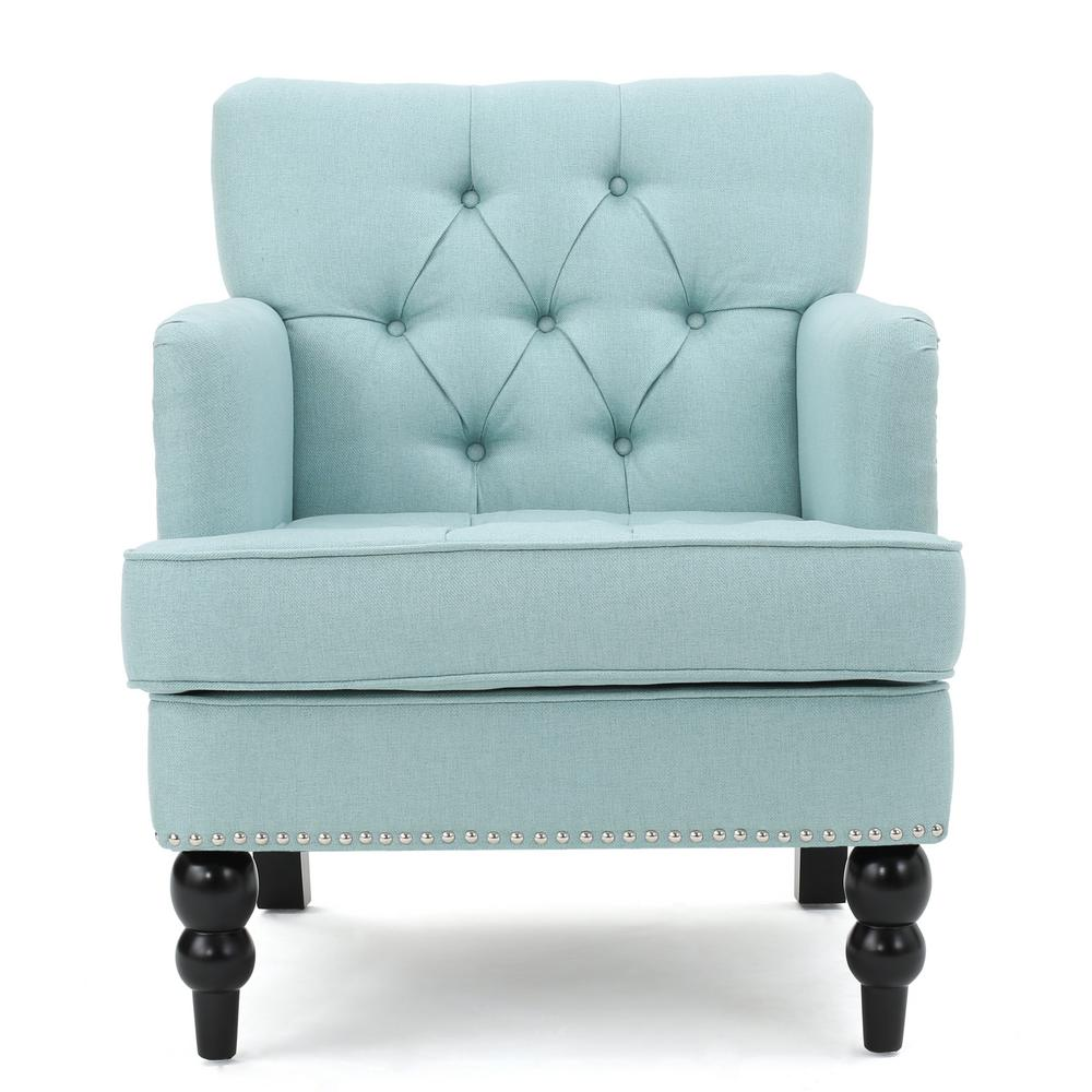 Malone tufted light blue fabric club chair with stud accents