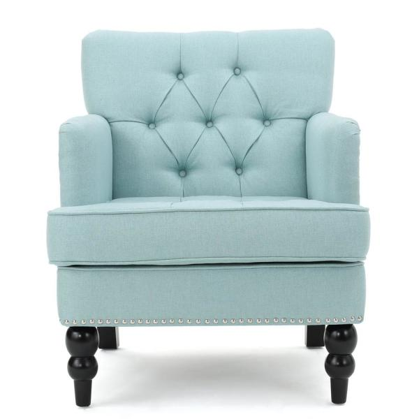 Noble House Malone Tufted Light Blue Fabric Club Chair with Stud Accents