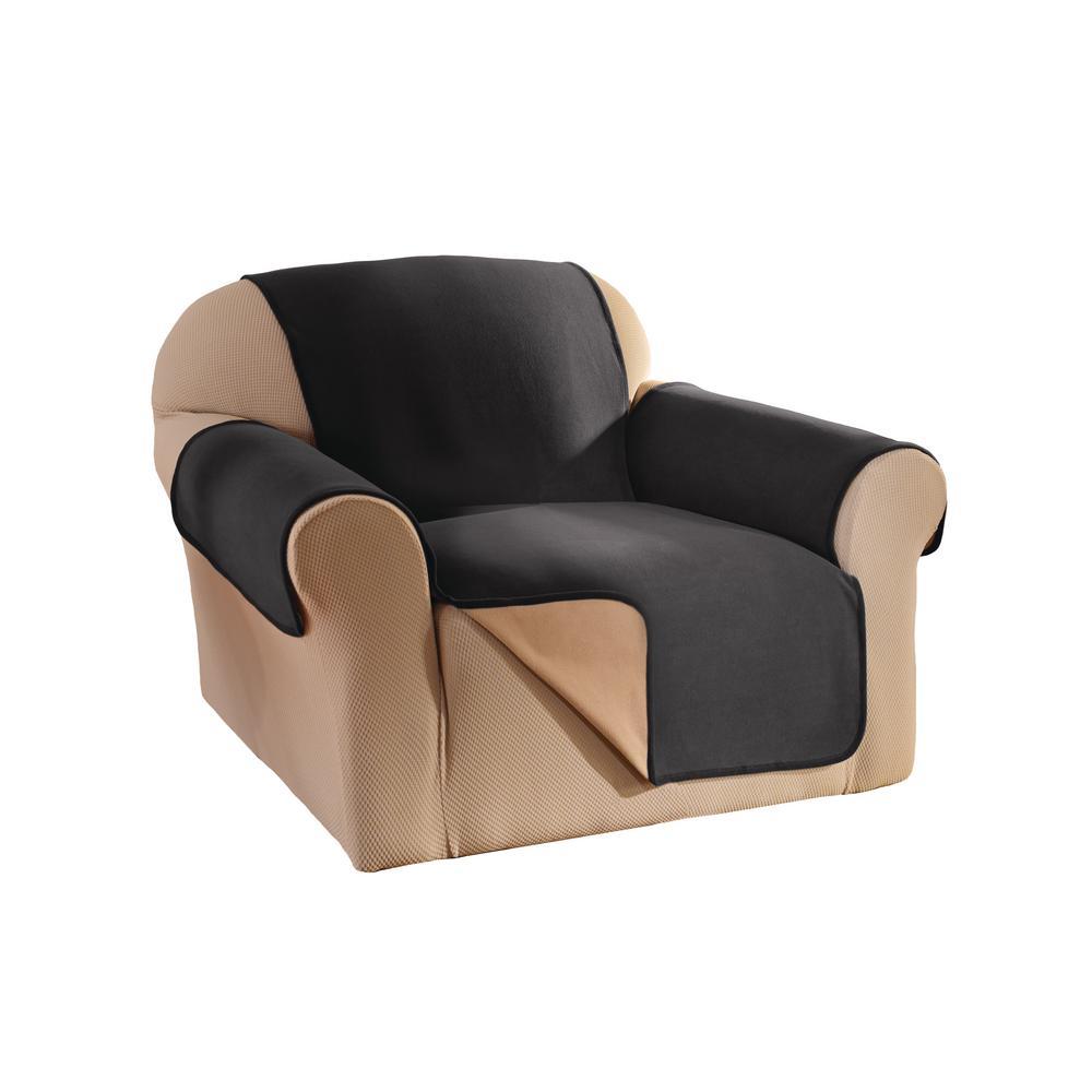 Black Reversible Waterproof Fleece Chair Furniture Protector
