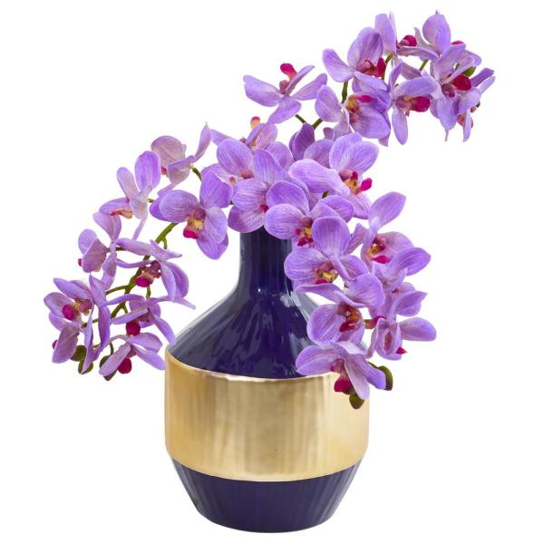 Nearly Natural Phalaenopsis Orchid Artificial Arrangement in Blue and Gold