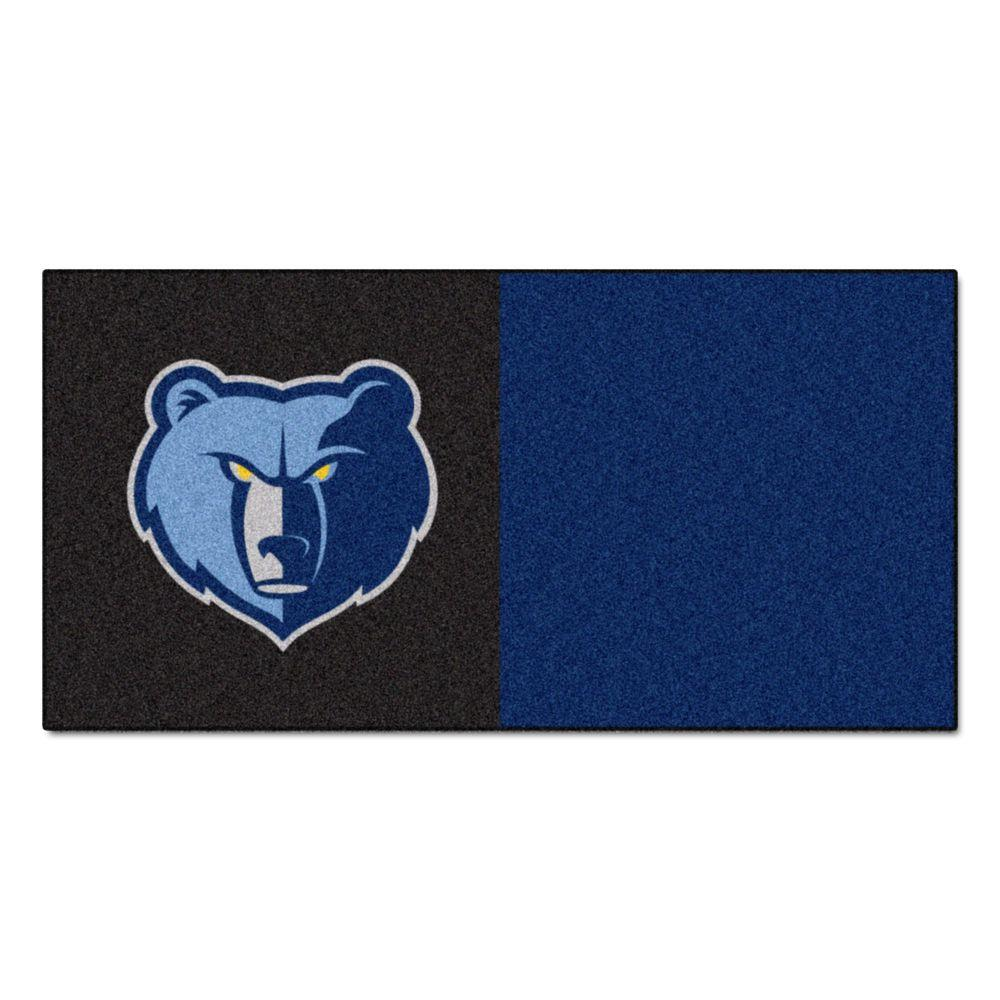 FANMATS NBA Memphis Grizzlies Black and Blue Pattern 18 in. x 18 in. Carpet Tile (20 Tiles/Case)