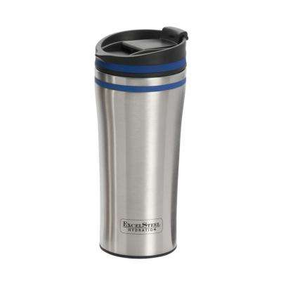 15 oz. Blue Double Wall Stainless Steel Coffee Tumbler with Silicone Ring