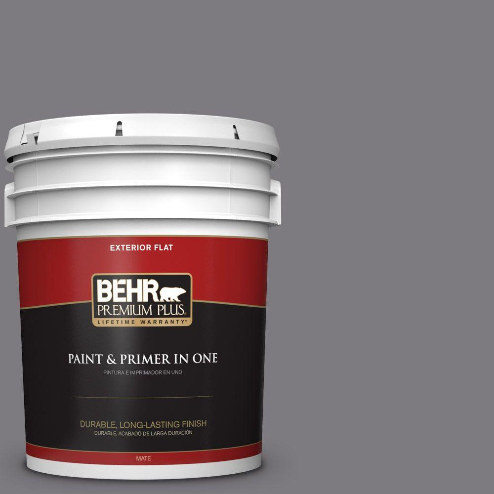 5-gal. #BXC-58 Stormy Gray Flat Exterior Paint