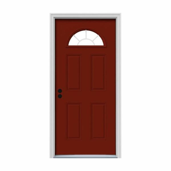 36 in. x 80 in. Fan Lite Mesa Red Painted Steel Prehung Right-Hand Inswing Front Door w/Brickmould
