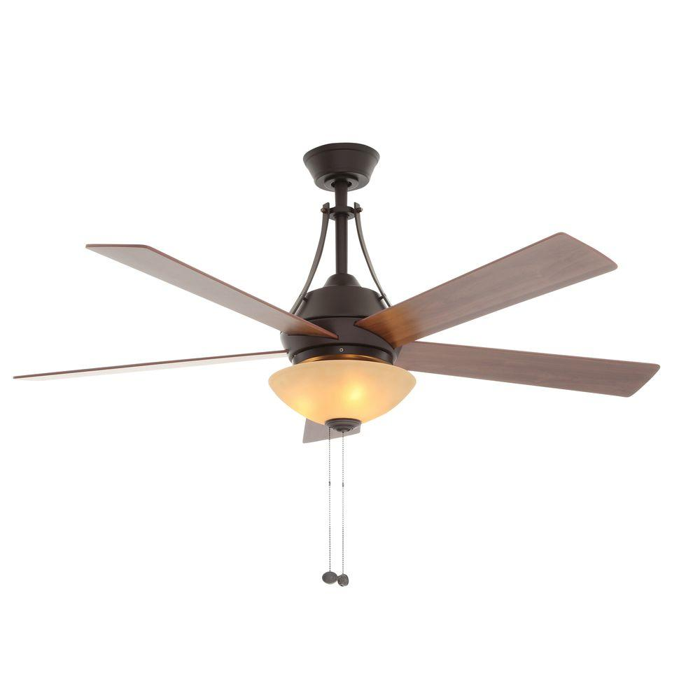 hampton bay everbilt 54 in indoor oilrubbed bronze ceiling fan with light kit