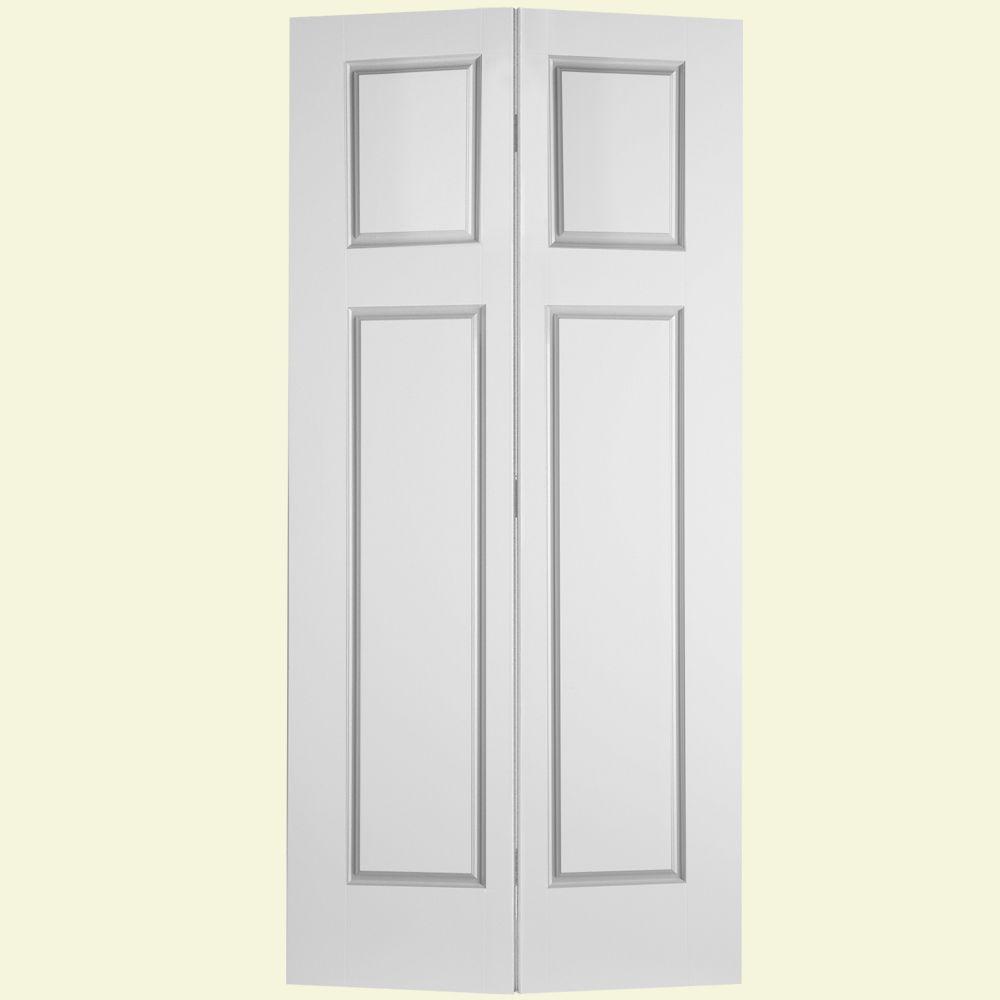 Masonite Glenview Textured 4-Panel Hollow Core Primed Composite Interior Closet Bi-fold Door
