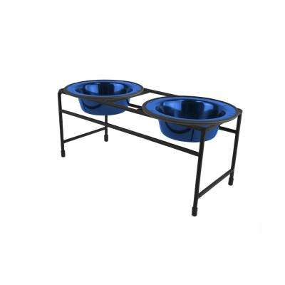 .75 Cup Modern Double Diner Feeder with Cat/Puppy Bowls, Sapphire Blue
