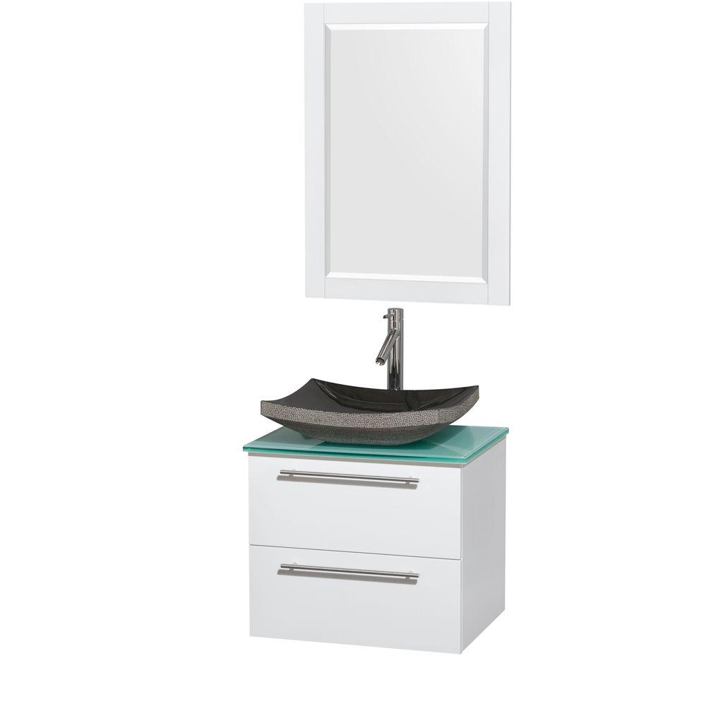 Wyndham Collection Amare 24 in. Vanity in Glossy White with Glass Vanity Top in Green with Black Granite Sink and 24 in. Mirror