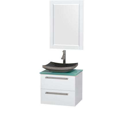 Amare 24 in. Vanity in Glossy White with Glass Vanity Top in Green with Black Granite Sink and 24 in. Mirror