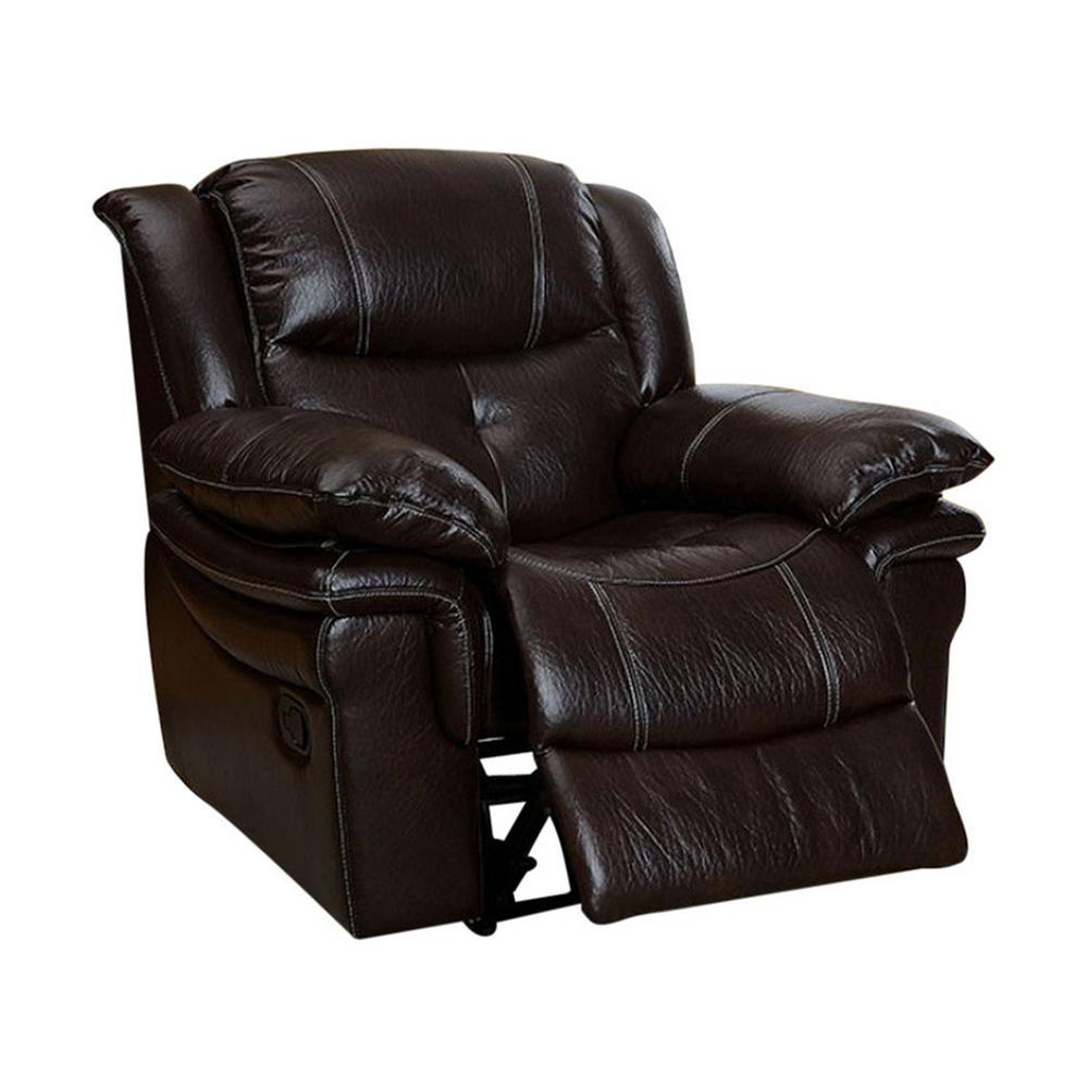 Transitional Dark Brown Recliner Chair