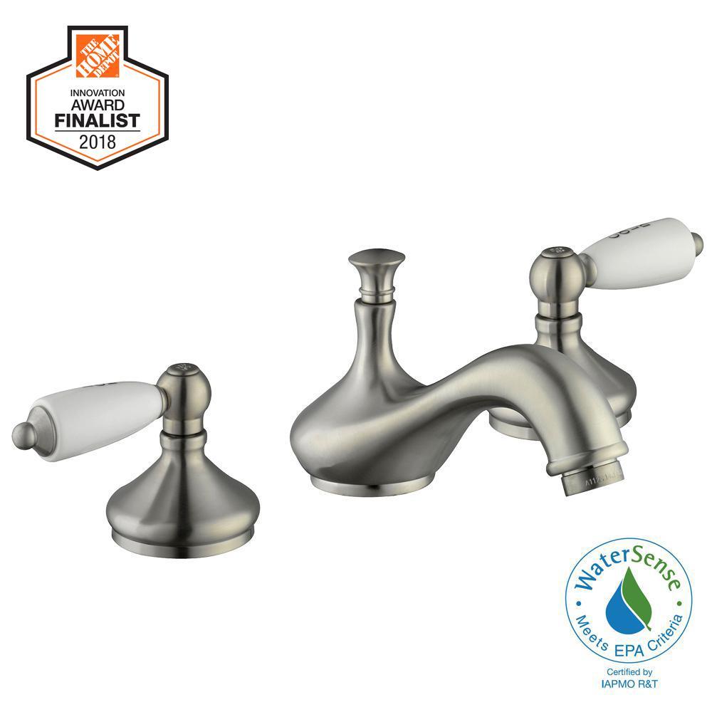 Glacier Bay Teapot 8 In Widespread 2 Handle Low Arc Bathroom Faucet