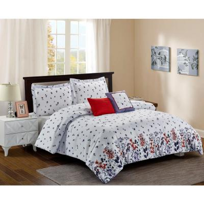 Meadow 5-Piece White Full/Queen Comforter Set