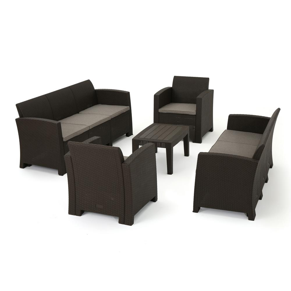 Noble House Nolan Brown 8-Piece Wicker Patio Conversation Set with Mix  Beige Cushions