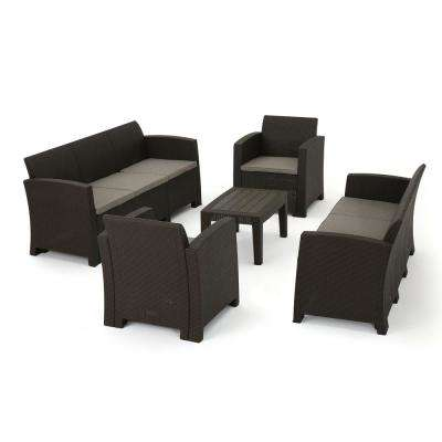 Nolan Brown 8-Piece Wicker Patio Conversation Set with Mix Beige Cushions