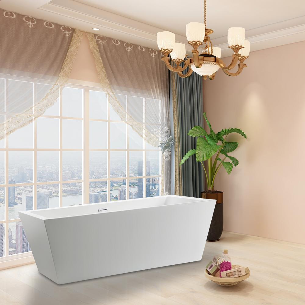 Vanity Art Tarbes 59 in. Acrylic Flatbottom Freestanding Bathtub in White