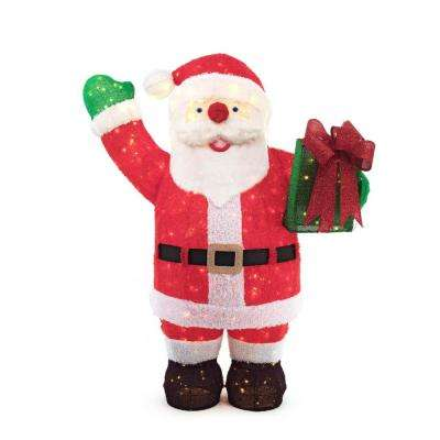 84in 400l led giant fuzzy tinsel santa with gift box - Santa Claus Christmas Decorations