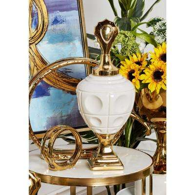 19 in. White Ceramic Urn-Shaped Jar with Gold Base and Lid
