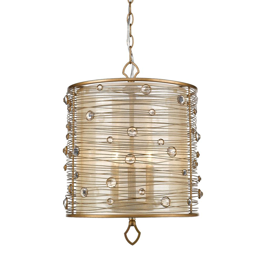 Golden Lighting Joia 3-Light Peruvian Gold Pendant Light ...