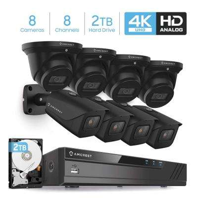4K 8-Channel 2TB HDD DVR Security Camera System with 8x 4K 8 MP Indoor/Outdoor Bullet and Dome Wired Cameras