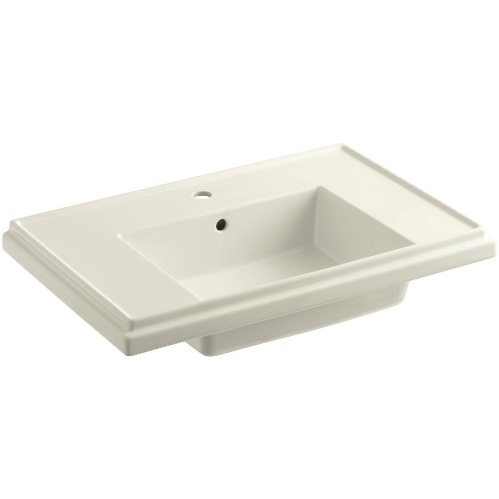 KOHLER Tresham 30 in. Fireclay Pedestal Sink Basin in Biscuit with Overflow Drain