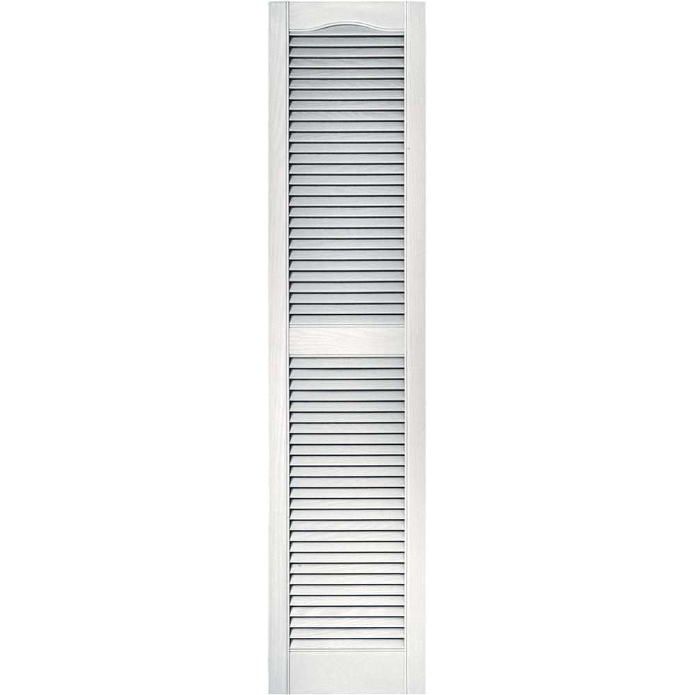 Builders Edge 15 in. x 64 in. Louvered Vinyl Exterior Shutters Pair in #117 Bright White