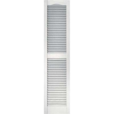 15 in. x 64 in. Louvered Vinyl Exterior Shutters Pair in #117 Bright White
