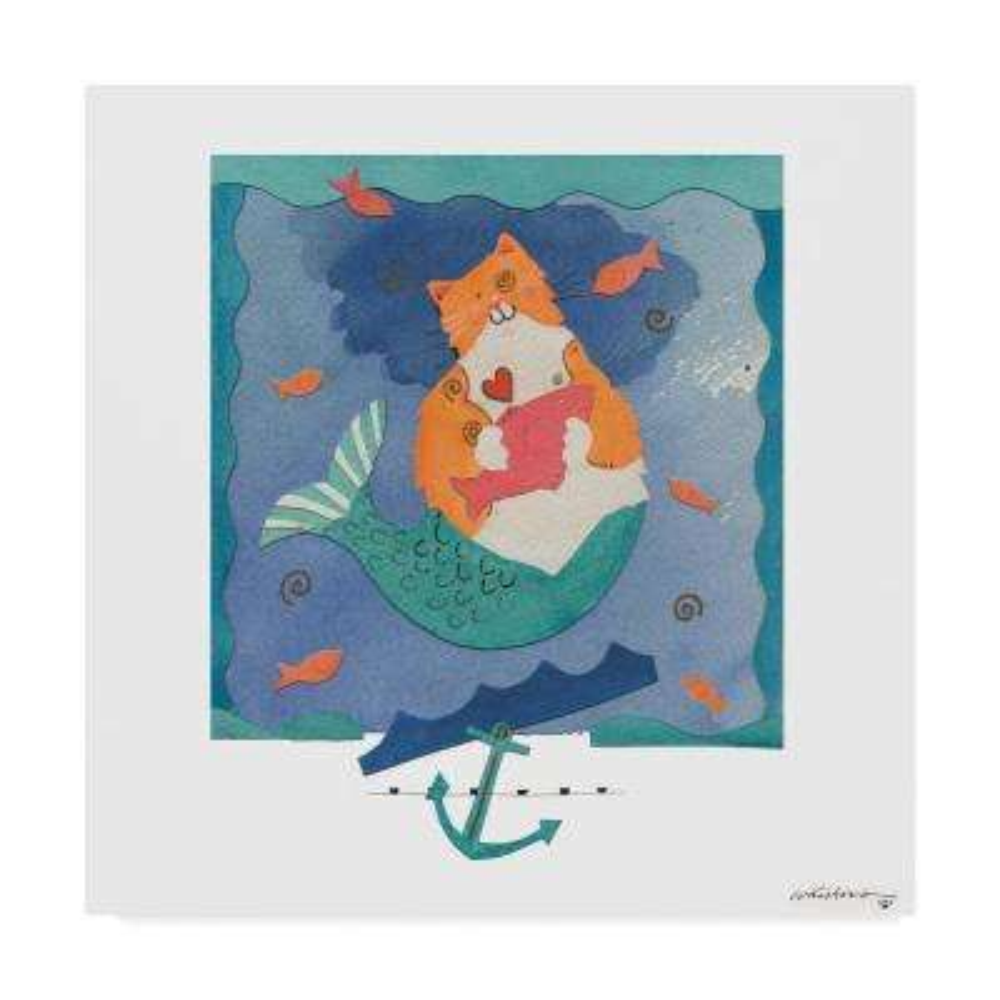 14 in. 14 in. Whiskers Studio 'Orangecat Mermaid' Canvas Wall Art