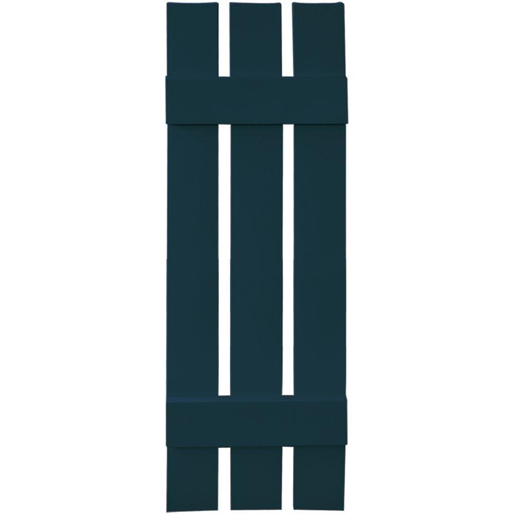 12 in. x 39 in. Board-N-Batten Shutters Pair, 3 Boards Spaced #166 Midnight Blue