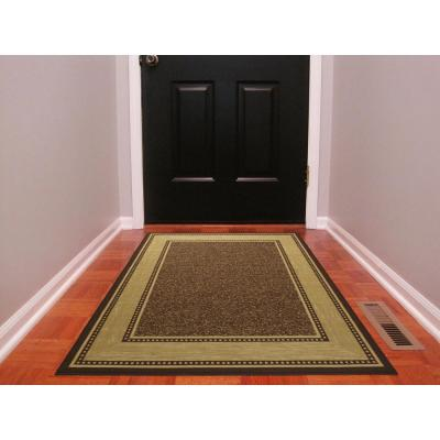Contemporary Bordered Design Brown 3 ft. x 5 ft. Non-Skid Area Rug