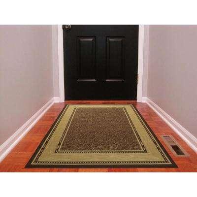 Contemporary Bordered Design Brown 3 Ft X 5 Non Skid Area Rug