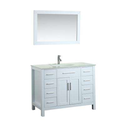 Bosconi 43.3 in. W Single Bath Vanity in White with Tempered Glass Vanity Top in White with White Basin and Mirror