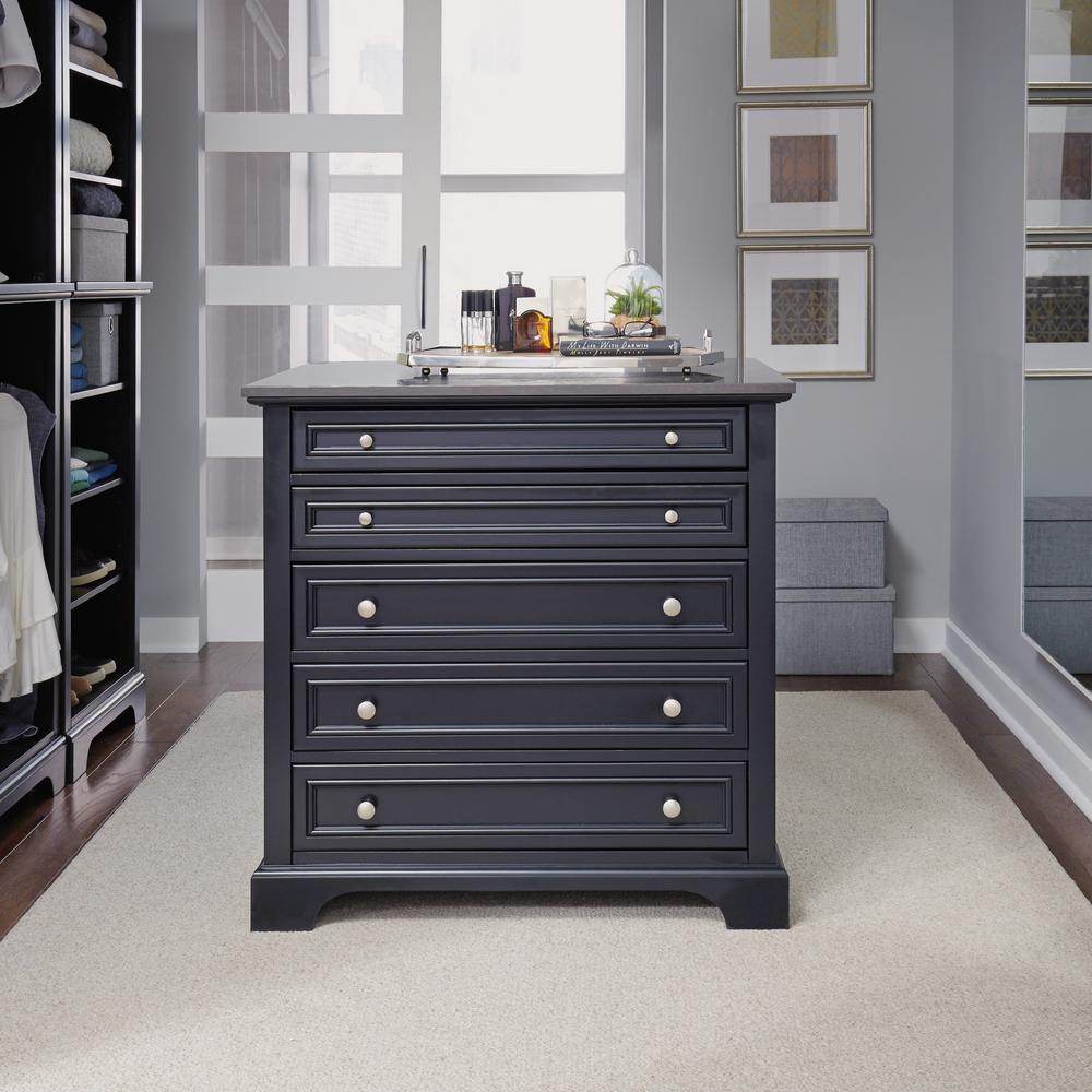 Home Styles Bedford 5 Drawer Black Closet Island 5531 92 The Depot